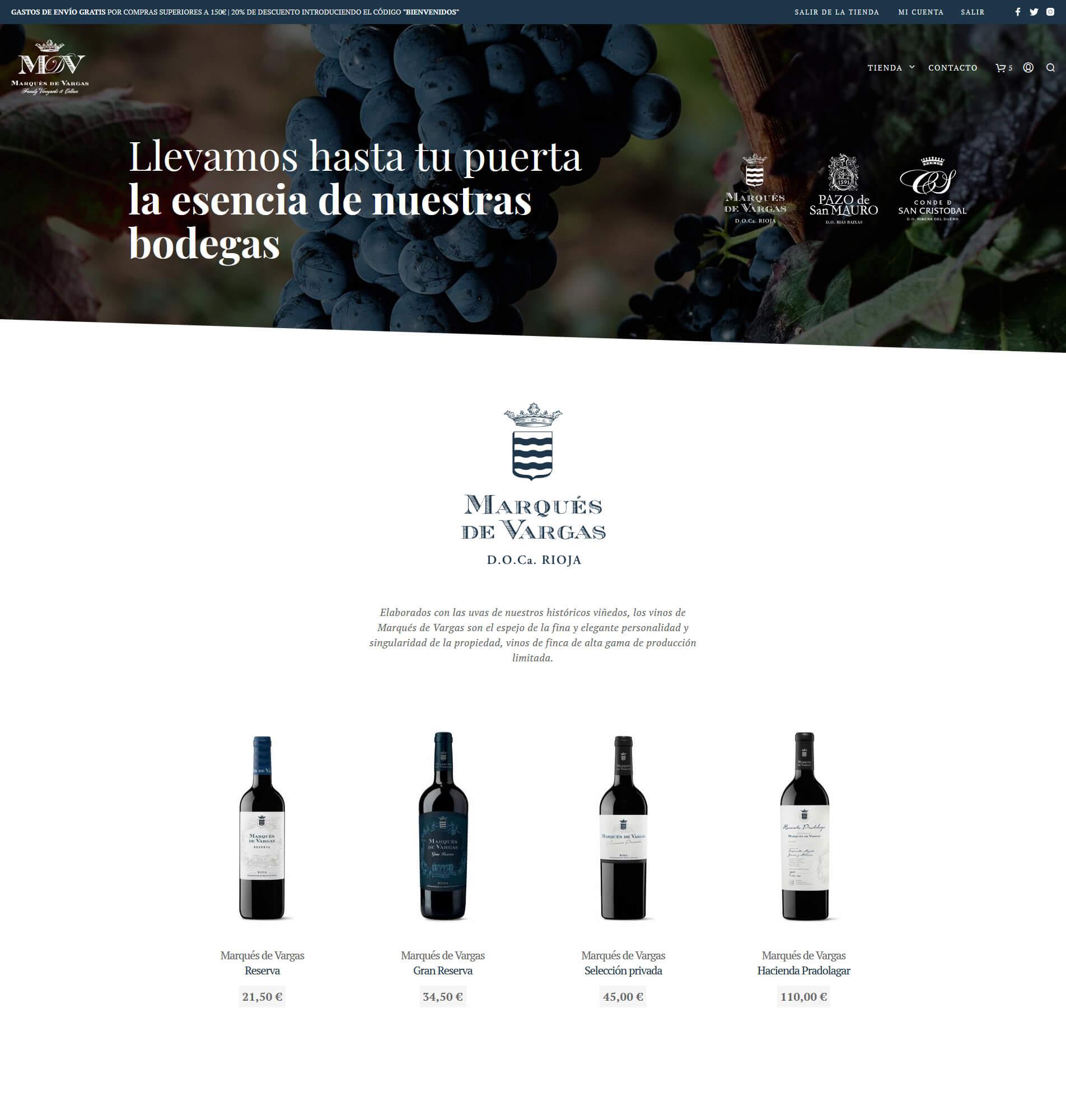 Bodegas y Viñedos Marqués de Vargas atiende las nuevas demandas de sus consumidores lanzando su tienda online